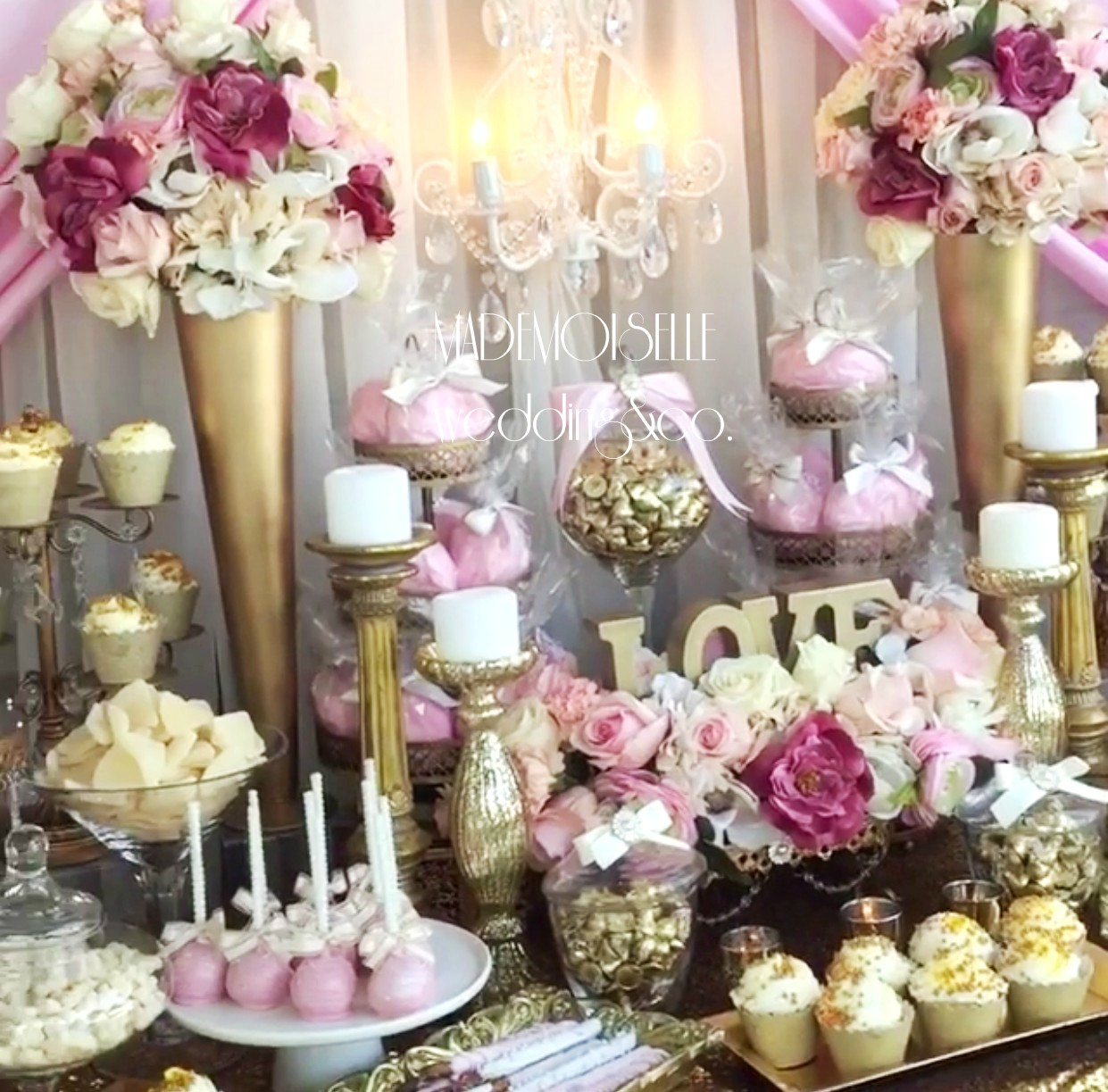 Slatki sto-dekoracija za slatki sto-dekoracija slatkog stola-kolaci-cupecakes-roze pink zlatna dekoracija slatkog stola-muffins-cakepops