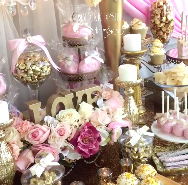 Slatki sto-dekoracija za slatki sto-dekoracija slatkog stola-kolaci-cupecakes-roze zlatna dekoracija slatkog stola-muffins-cakepops